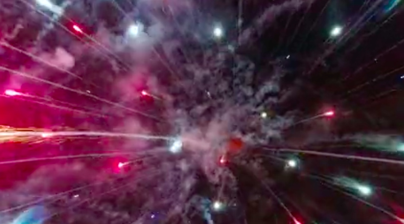 Exploding fireworks as viewed from drone.