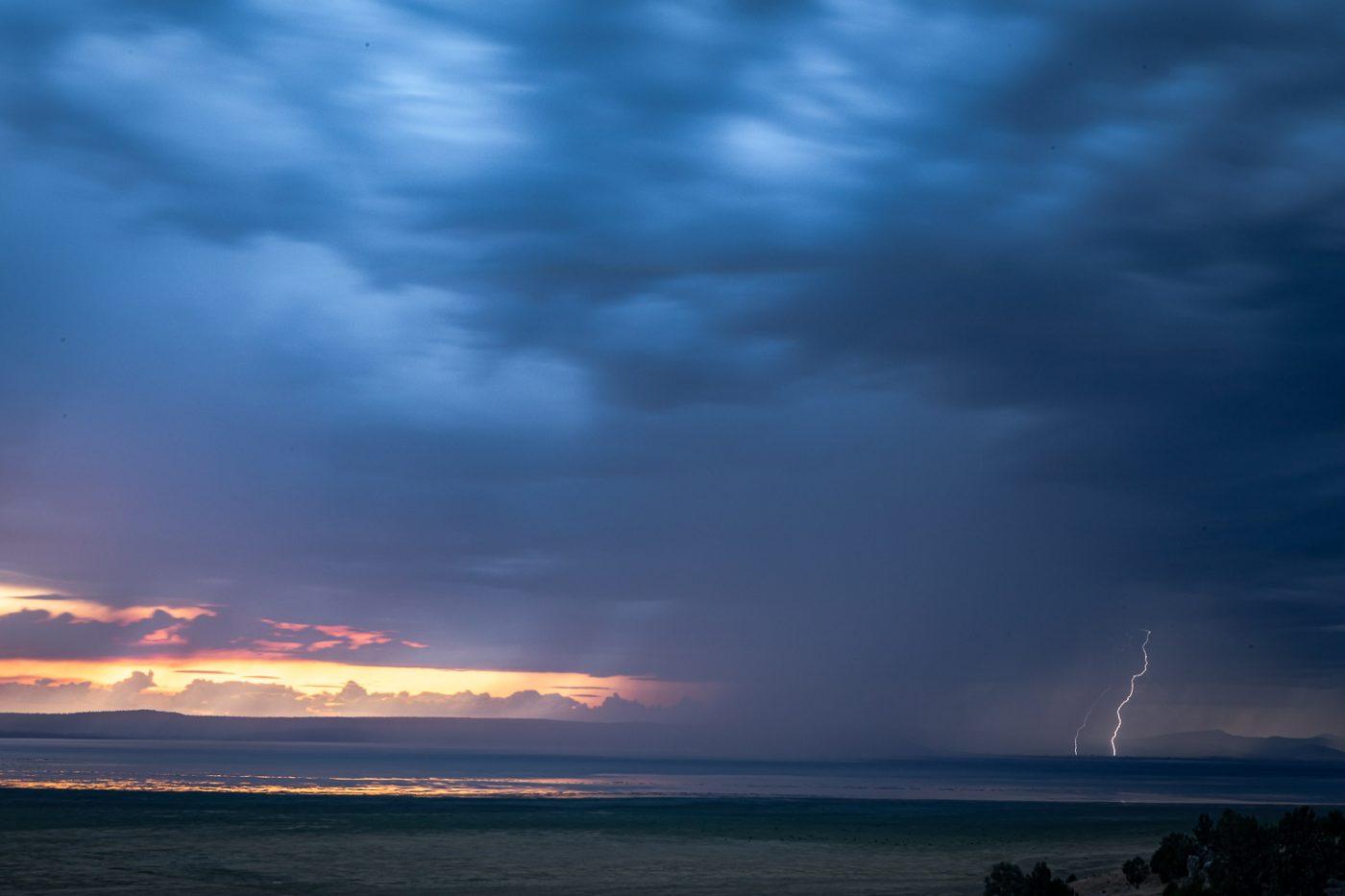 A double bolt of lightning strikes near Goose Lake, California.