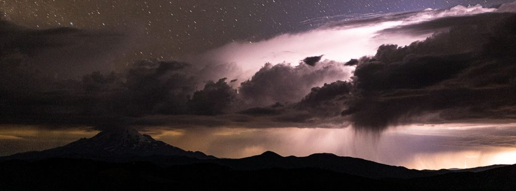 Clouds and lightning near Mt. Shasta.