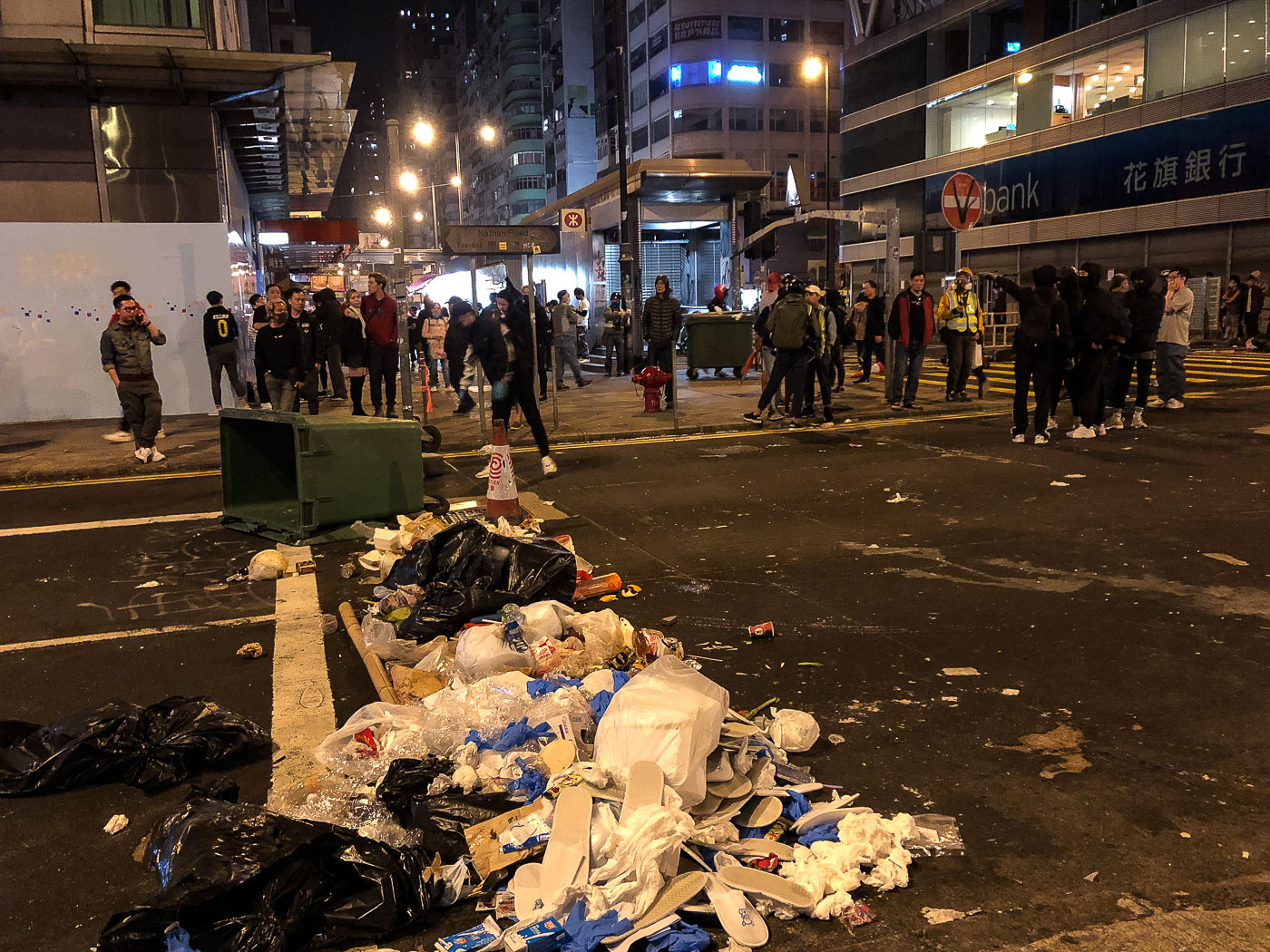 A trash barricade built by protesters in Hong Kong.